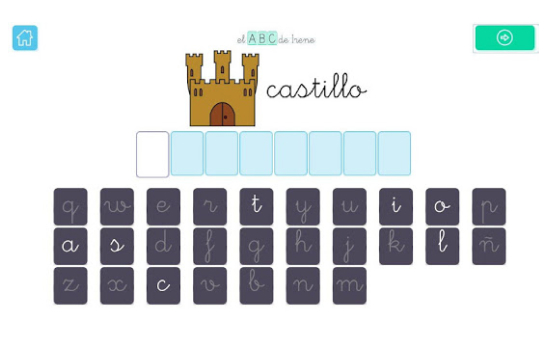 Screenshot of the app showing a word, letters and a drawing