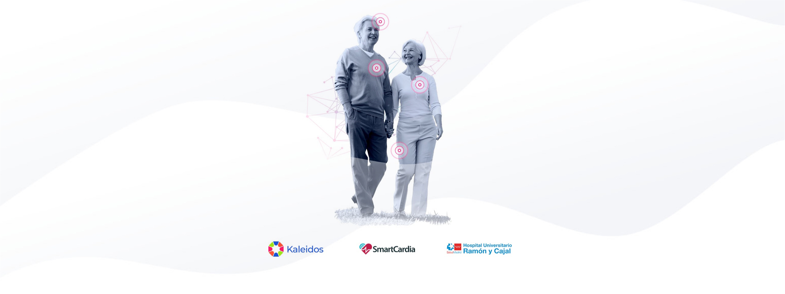 promotional image with two elder people and logos of kaleidos, smartcadia and Ramon y Cajal Hospital